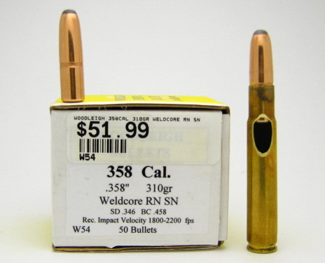 .358 Woodleigh 310gr Roundnose Softnose